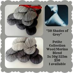50 Shades of Grey Petite Collection 50 Shades Of Grey, Red Riding Hood, Yarns, Merino Wool, Black And Grey, Collections, Mini, Color, Fashion