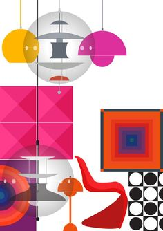All Verner #Panton 's products on archiproducts.com Illustration by Emma Sivell #danish #design #colour