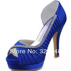 Royal Blue Prom Shoes EP11064-IPF Peep Toe Platform High Heel 4.5inch Rhinestone Pleated Satin Woman Wedding Pumps US $99.99