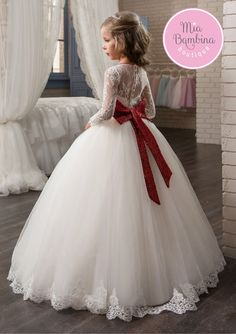 The breathtaking Richmond flower girl dress features straight cut illusion bodice with long lace transparent sleeves and a floor-length richly gathered tulle skirt. Girls Baptism Dress, Girls Party Dress, Birthday Dresses, Baby Dress, Gowns For Girls, Little Girl Dresses, Girls Dresses, Kids Pageant Dresses, Vestidos Zara