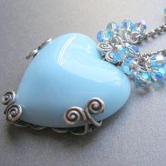Necklace  Blue Heart Pendant and Swarovski Crystal by rhealeanne, $24.99
