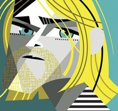 Kurt Cobain - by Pablo Lobato People Illustration, Character Illustration, Illustration Art, Arte Pink Floyd, Nirvana Art, Cubism Art, Celebrity Caricatures, Cultura Pop, Rock Art