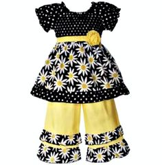 Smocked #Daisies & Polka dots #Yellow sash ties behind back. Capri pants are 100% Jersey knit cotton with daisy ruffles. Elastic waist for comfortable fit. Embellished with Rose on shirt and pant leg. www.GrowWithLoveBoutique.com