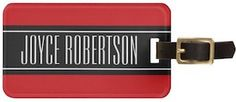 Red And Black Your Name Luggage Tag