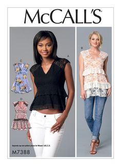 McCall's Misses' V-Neck, Empire-Waist Tops 7388