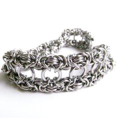 Double Wide - Chainmaille Bracelet - Byzantine