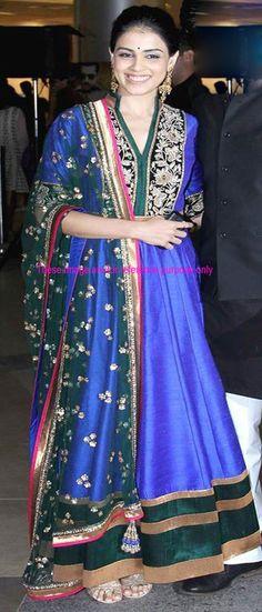 Genelia Dsouza In Blue Dupioni Raw Silk Bollywood Anarkali Salwar Kameez-IG4963 at IndianGarb