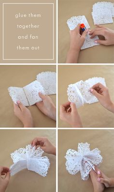 Diy Crafts - Make snowflake stars from doilies and a gluestick. Paper Doily Crafts, Doilies Crafts, Paper Doilies, Paper Lace, Paper Crafts Origami, Snowflakes For Kids, Christmas Snowflakes, Christmas Ornaments, Diy Christmas Cards