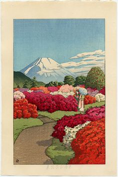 """Two Beauties in Azalea Garden"" or ""Two Young Women Strolling in an Azalea Garden"" ・ by Kawase Hasui ・ Series: Collection of Views of the Moto-Hakone Minami Villa ・ Japanese Artwork, Japanese Painting, Japanese Prints, Art Occidental, Art Graphique, Japan Art, Woodblock Print, Chinese Art, Land Scape"