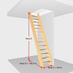 Ruimtespaar trap 13 treden. Hoogte 280cm t/m 308cm