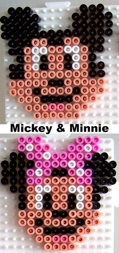 Mickey and Minnie Mouse hama perler beads
