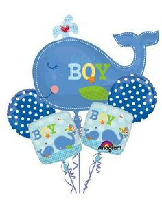 Ahoy Baby Boy Baby Shower Balloon Bouquet: From the Ahoy Baby Boy Baby Shower Supply Collection. Ahoy Baby Boy Shower Five Piece Balloon Bouquet. Baby Ballon, Baby Boy Balloons, 5 Balloons, Baby Shower Balloons, Latex Balloons, Baby Shower Decorations For Boys, Balloon Decorations Party, Baby Shower Themes, Baby Boy Shower