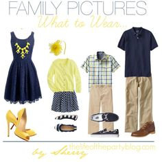 What to Wear for Family Pictures Yellow and Navy. I think that this is my favorite combination so far! What to Wear for Family Pictures Yellow and Navy. Family Pictures What To Wear, Summer Family Photos, Spring Photos, Family Pics, Family Portraits What To Wear, Family Picture Colors, Family Picture Outfits, Quoi Porter, Family Photo Sessions