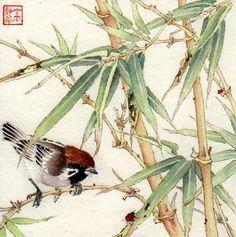 In the Bamboo - Original Fine Art for Sale - © Jinghua Gao Dalia