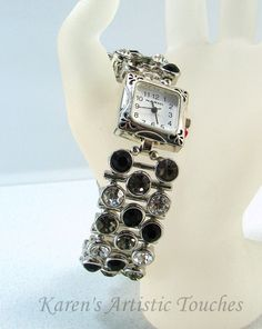 Black Grey Crystal Bling Beaded Watch Magnetic by ArtisticTouches