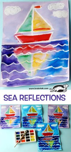 SEA+REFLECTIONS - Watercolor painting with a crayon or oil pastel resist of a sail boat  with a reflection in the water between waves.  Art lesson idea for 1st or 2nd grade.