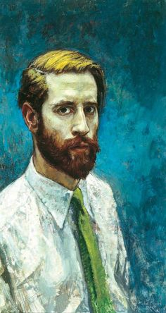Michael Noakes (English, b. 1933), Self Portrait with Beard, 1958. Oil on board, 72 x 37.5 cm. The Ruth Borchard Collection.