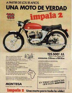 Montesa impala 2 Vintage Bikes, Vintage Motorcycles, Cars And Motorcycles, Vintage Advertisements, Vintage Ads, Vintage Posters, Motos Trial, Car Posters, Car Advertising
