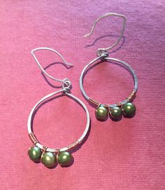 Mixed Metal Hoop Earrings with Trio of Green Freshwater Pearls