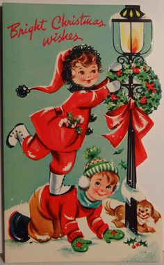 Vintage children decking lamppost ♺ Kathy H