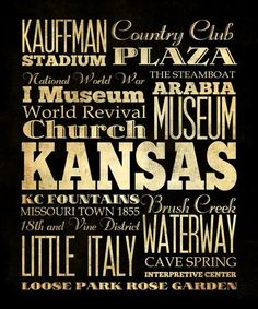 Kansas City Missouri Typography Art  Canvas
