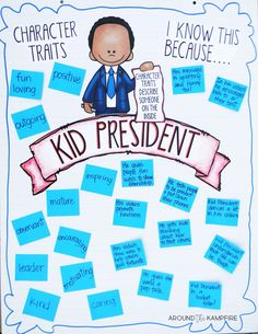 Teach Your Child to Read - Teaching With Kid President Videos-Lesson Inferring character traits class anchor chart after watching the videos. - Give Your Child a Head Start, and.Pave the Way for a Bright, Successful Future. Character Traits Activities, Positive Character Traits, Character Education Lessons, Character Traits List, Character Counts, Kid President Videos, 4th Grade Reading, Teaching Reading, Guided Reading