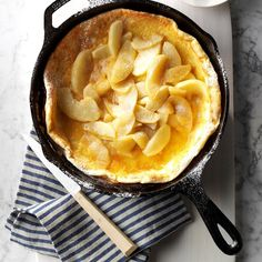 German Apple Pancake Recipe from Taste of Home Pancake Recipe Taste, Apple Pancake Recipe, German Apple Pancake, German Pancakes, Baked Pancakes, Dutch Apple, Pancake Recipes, Iron Skillet Recipes, Cast Iron Recipes
