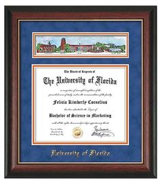 university of florida diploma frame this beautiful rosewood with gold lip diploma frame comes with - Diploma Frames With Tassel Holder