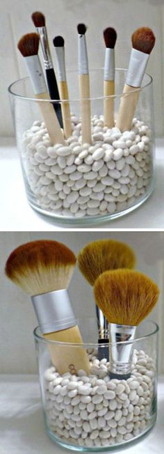 Green makeup organizing ideas ♥ use rice, quiona, beans to hold brushes in place of plastic beads