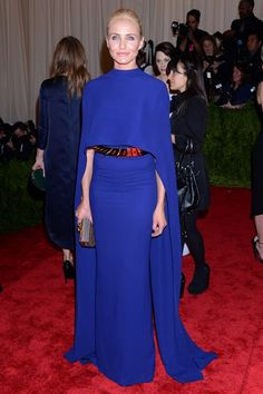 Cameron Diaz arrived at the Met Ball with Stella McCartney, so was naturally dressed by the British designer in a cobalt gown with cape.