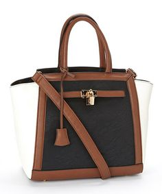 Love this Black & White Color Block Corrine Satchel by CXL by Christian Lacroix on #zulily! #zulilyfinds