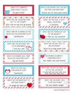 FREE Printable Valentines Lunch Box Joke Cards!