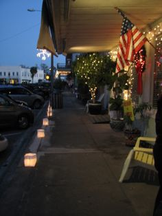 Apalachicola - the day after Thanksgiving, they line the down town area with luminaries and keep the shops open late - there are strolling carolers and street musicians - it has become a tradition for me