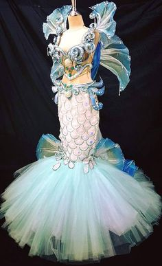 Queen of Sea Mermaid Fish Crystal Corset Skirt Dress Gown