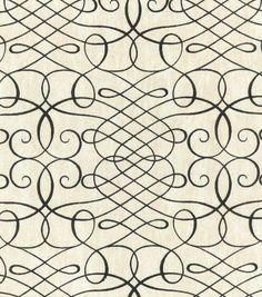 Upholstery Fabric-Waverly Calligraphy Swirl Ink