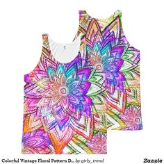 Colorful Vintage Floral Pattern Drawing Watercolor All-Over Print Tank Top