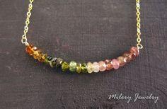 Multi Color Tourmaline Rondelle Gemstone 14k Gold Filled by Milery