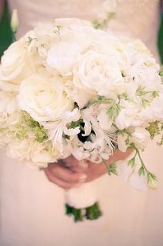 all white wedding bouquet, you can add random lavender flowers Lake Celmer All White Wedding, White Wedding Bouquets, White Bridal, Ivory Wedding, Wedding Dresses, Bling Wedding, Dream Wedding, Wedding Day, Wedding Bells