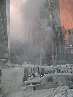 9/11/2001 ~ Never Forget!! The Ash,                              Dust, Debris, and Devastation Left When The North and South Towers Collapsed.