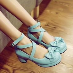 Robin's Egg Blue Platform Mary Janes with Wraparound Straps and Bows at Toe...