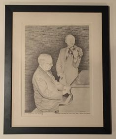 """Matted and framed pictured of Harry S Truman.  Signed and numbered by the artist.  Bottom of picture states, """"Backstage at the Music Hall"""" March 22, 1958 - Kansas City, Missouri."""