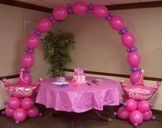Princess Birthday Balloon Party Theme ~ Tulsa, OK Balloon Tower, Balloon Arch, Flower Balloons, Disney Princess Party, Princess Birthday, Princess Theme, Pink Princess, Birthday Balloons, 1st Birthday Parties