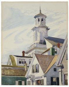 """Methodist Church, Provincetown,"" Edward Hopper, 1930, watercolor on paper, 25 x 19 ¾"", Wadsworth Atheneum."
