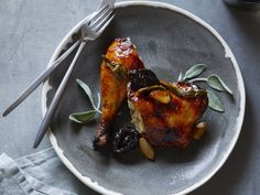Apricot Glazed Chicken with Dried Plums and Sage from FoodNetwork.com