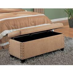 Classic Storage Ottoman Bench With Nailhead Trim Design