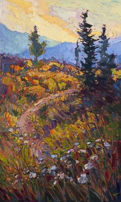 Erin Hanson - Sunset Wildflowers Impressionistic Landscape