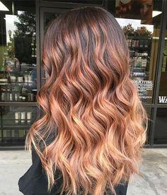 Auburn balayage new hair in 2019 Auburn Ombre, Auburn Hair Balayage, Hair Color Auburn, Hair Dye Colors, Hair Color Balayage, Hair Highlights, Ombre Hair, Hair Colour, Stylish Hair