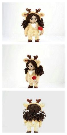Amigurumi Pink Little Layd Free Pattern – Amigurumi Free Patterns And Tutorials Amigurumi Patterns, Amigurumi Doll, Free Crochet, Knit Crochet, Crochet Hats, 4 Ply Yarn, Hair Cover, Mohair Yarn