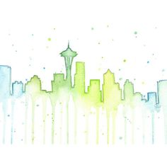 Seattle Skyline Watercolor Silhouette Painting Art Print Space Needle... ($10) ❤ liked on Polyvore featuring home, home decor, wall art, cityscape wall art, water color painting, watercolour painting, silhouette wall art and watercolor wall art