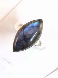 Labradorite Cabochon Marquise Sterling Silver Ring. Size 6&3/4